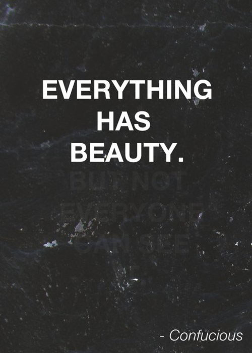 Everything has beauty, but not everyone can see.