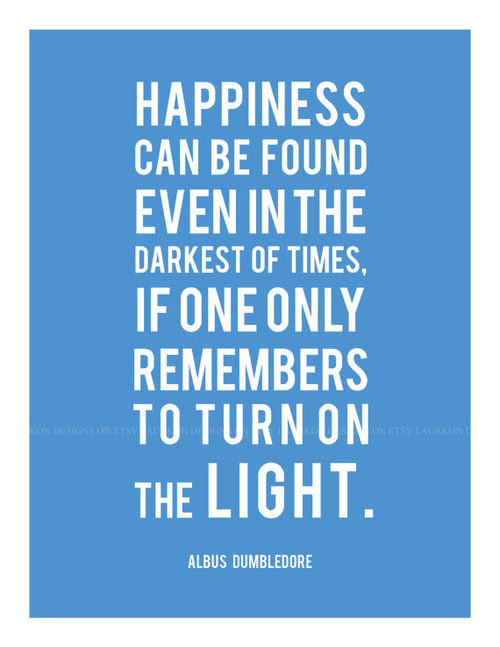 Happiness can be found even in the darkest of times. If one only remembers to turn on the light