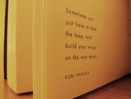 Sometimes you just have to take the leap, and build your wings on the way down.