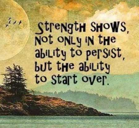 Strength shows not only in the ability to persist, but the ability to start over.