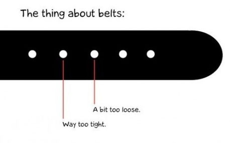 The thing about belts. Either a bit too loose. Or way too tight.