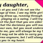 My daughter, I look at you and do not see...