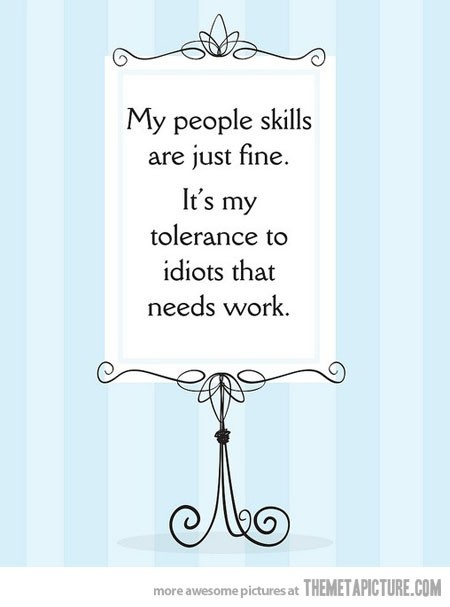 My people skills are just fine, it's my tolerance to idiots that needs work.