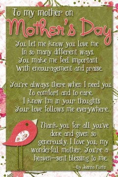 To my mother on mothers day...