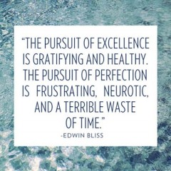 The pursuit of excellence is gratifying and heathy, the pursuit of perfection is frustrating, neurotic, and a terrible waste of time