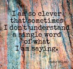 I am so clever that sometimes I don't understand a single word of what I am saying