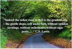 Indeed the safest road to Hell is the gradual one - the gentle slope, soft underfoot, without sudden turnings, without milestones, without signposts