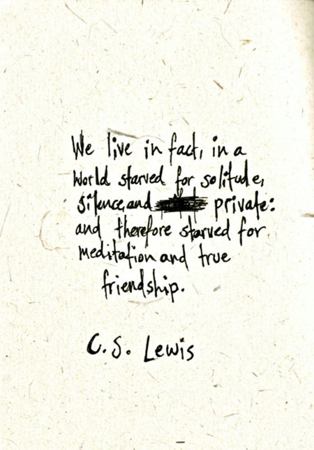 We live, in fact, in a world starved for solitude, silence, and private, and therefore starved for meditation and true friendship