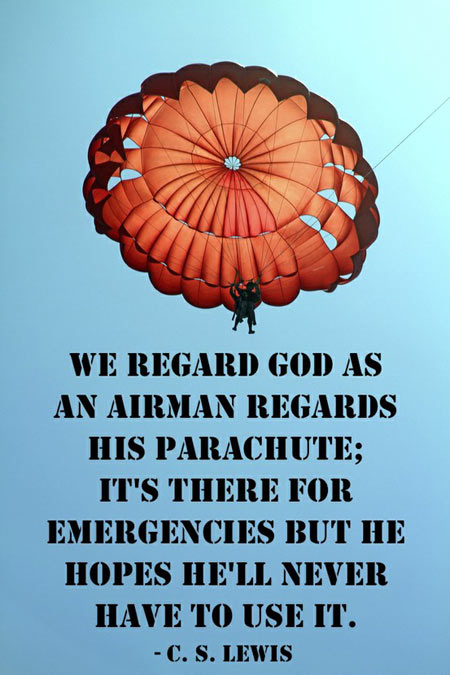 We regard God as an airman regards his parachute, it's there for emergencies, but he hopes he'll never have to use it