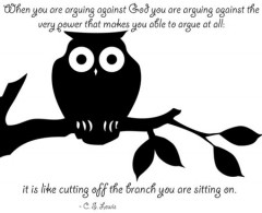 When you are arguing against God, you are arguing against the very power that makes you able to argue at all, It is like cutting off the branch you are sitting on