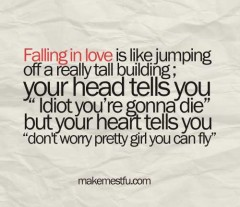 Falling in love is like jumping off a really tall building, your head tells you, Idiot you're gonna die, but your heart tell you, don't worry pretty girl you can fly