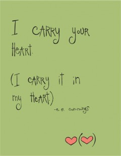 I carry your heart, I carry it in my heart