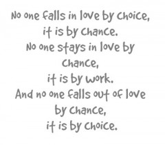 No one falls in love by choice, it is by chance, No one stays in love by chance, it is by work, And no one falls out of love by chance, it is by choice
